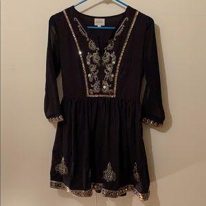 Free People Night Dress - Black & Bright